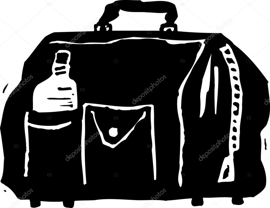 f404844d06 Black and white vector Illustration of Sports Duffel Bag — Vector by ...
