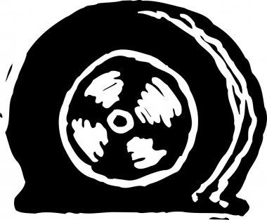Woodcut Illustration of Flat Tire