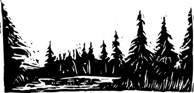 Woodcut Illustration of Forest