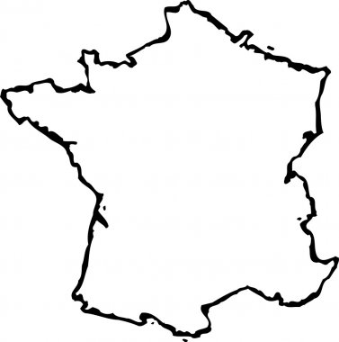 Woodcut Illustration of Map of France