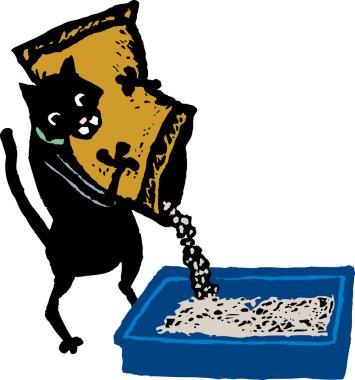 Woodcut Illustration of Cat Filling Cat Litter Box