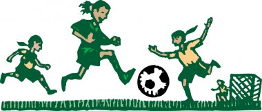 Woodcut Illustration of Kids Playing Soccer