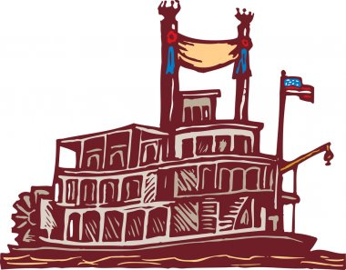 Woodcut Illustration of Riverboat