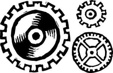 Woodcut Illustration of Gears