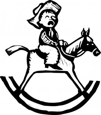 Woodcut Illustration of Little Boy Riding Rocking Horse and Crying