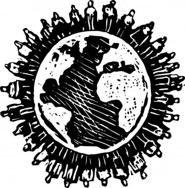 Woodcut Illustration of Over Populated Earth