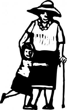 Woodcut Illustration of Grandma and Granddaughter