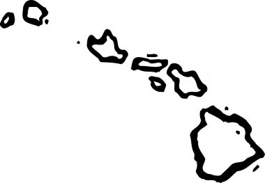 Woodcut Illustration of Map of Hawaii