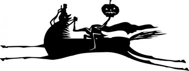Woodcut Illustration of Headless Horseman