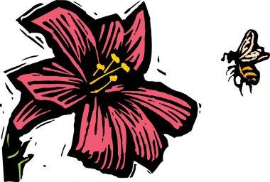 Woodcut Illustration of Bee Pollenating Flower