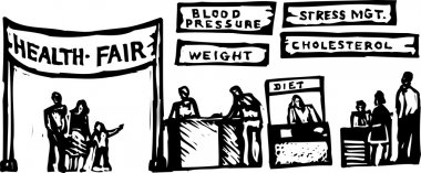 Woodcut Illustration of Health Fair