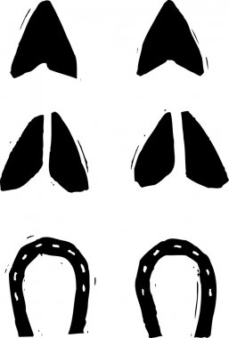Black and white vector illustration of hoof prints