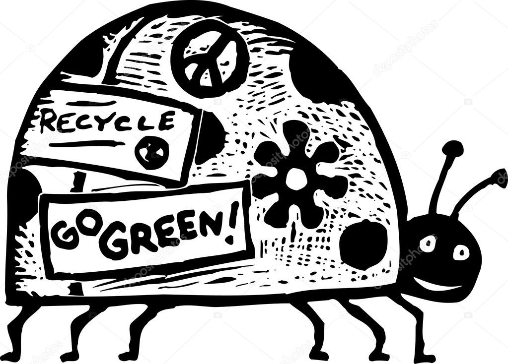 Woodcut illustration of lady bug with environmental bumper stickers stock vector