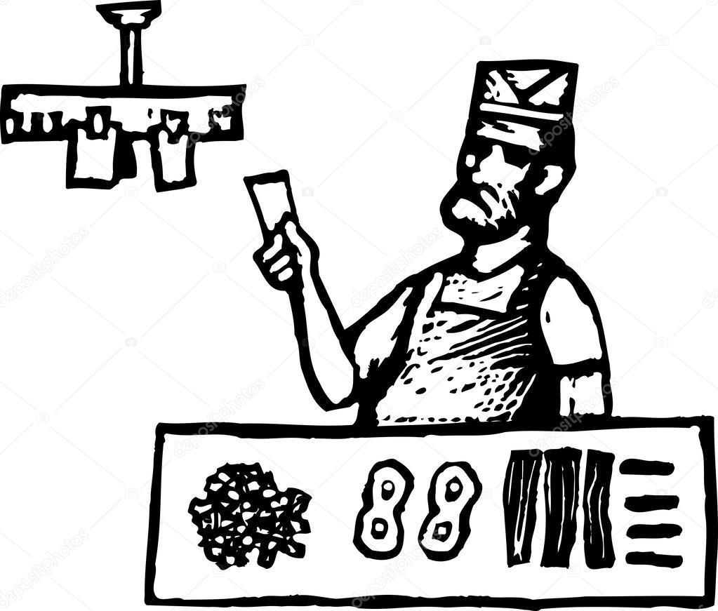 illustration de la gravure sur bois de grill chef ou short order