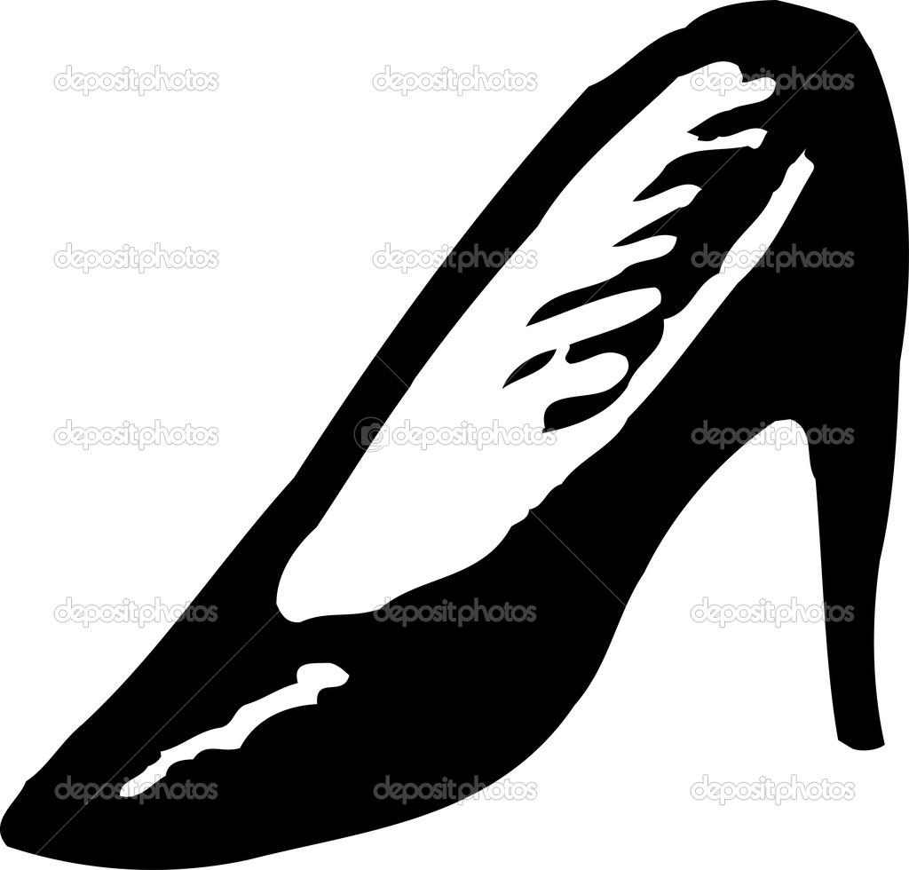 かかとの高い靴の木版画イラスト アイコン ストックベクター Ronjoe