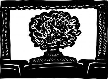 Person with Big Hair in Movie Theater
