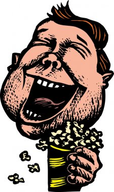 Overweight Man at Movies Laughing and Eating Popcorn