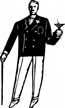 Vector Illustration of 1920s Sophisticated Rich Man with Martini and Cane