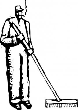 Vector Illustration of Janitor
