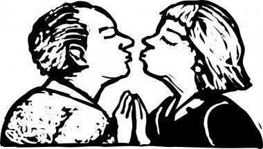 Woodcut Illustration of Senior Couple Kissing