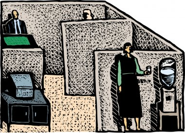 Woodcut Illustration of Office Cubicles