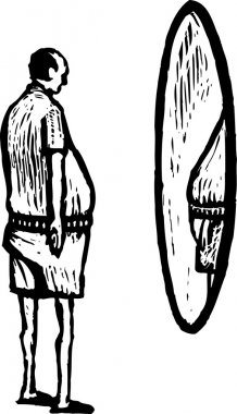 Woodcut Illustration of Man Looking in Mirror at His Middle Age Spread