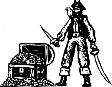 Woodcut Illustration of Long John Silver