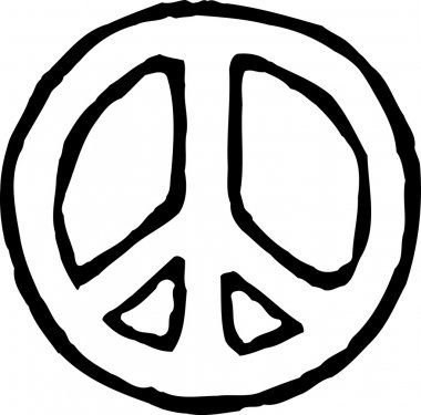 Woodcut Illustration of Peace Sign
