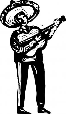 Woodcut Illustration of Mariachi Musician