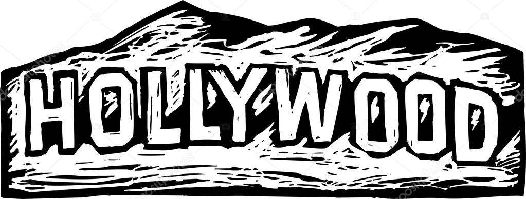 Woodcut Illustration Of Hollywood Sign Vector By Ronjoe