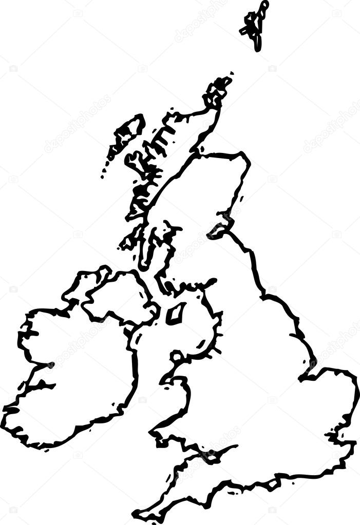 Vector Illustration Of Map Of Ireland And United Kingdom Stock - United kingdom map vector
