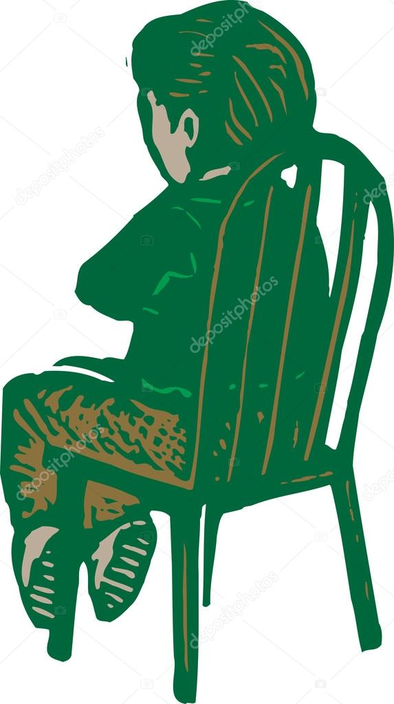 Zaman Aşımı Için Sandalyede Oturan çocuk Gravür çizimi Stok Vektör