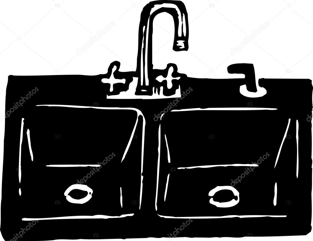 kitchen sink clipart black and white. woodcut illustration of kitchen sink \u2014 stock vector #29847681 clipart black and white o