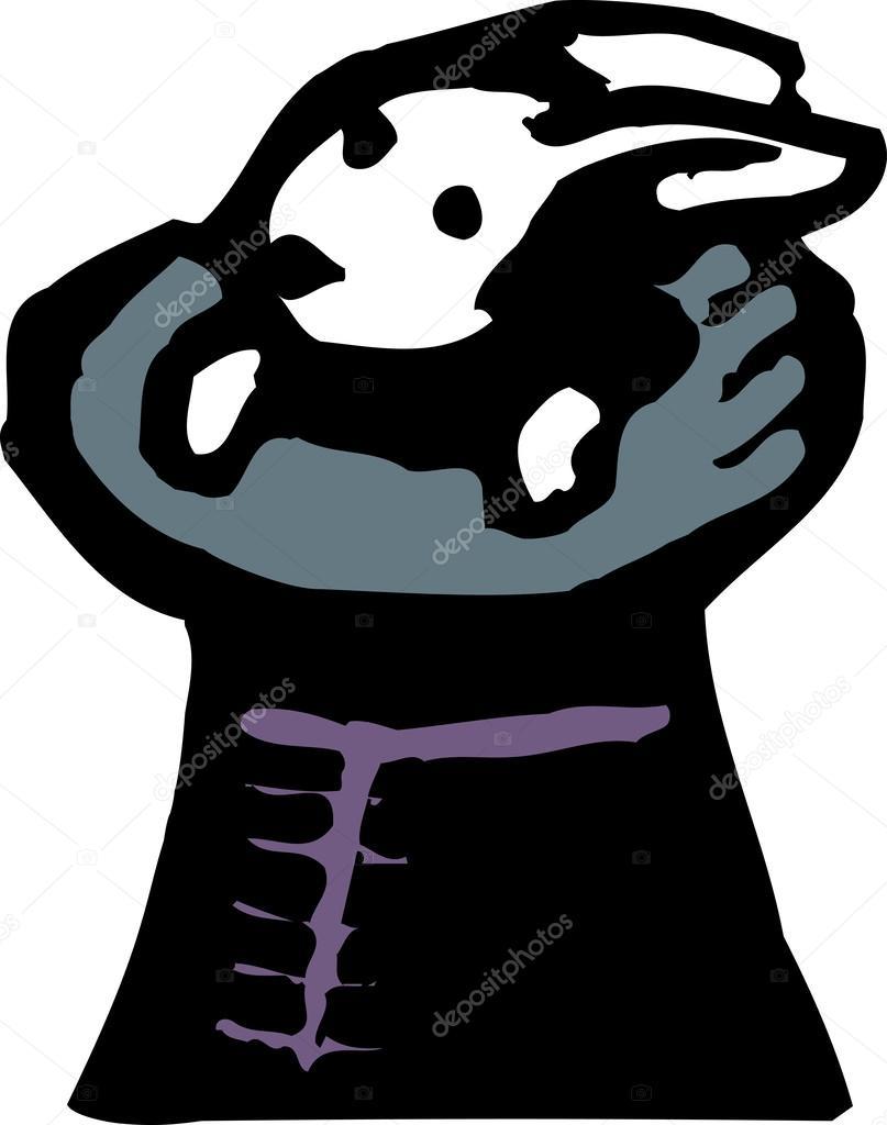 Icono de ilustración del grabar en madera de sombrero de mago con conejo —  Vector de 088efa5bdd2