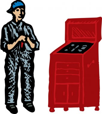 Woodcut Illustration of Auto Mechanic with Tools