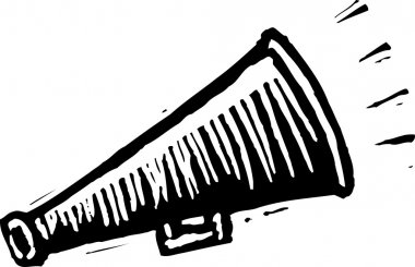 Woodcut Illustration of Megaphone