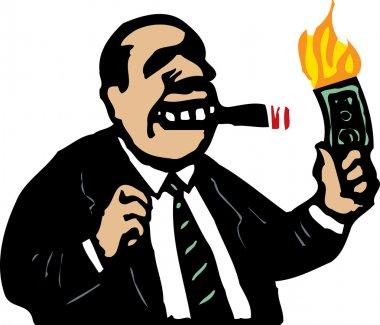 Woodcut Illustration of Man Burning Money