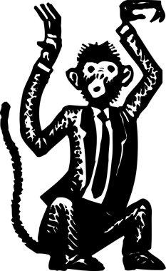 Woodcut Illustration of Monkey Business