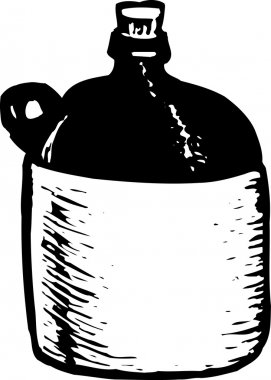 Woodcut Illustration of Moonshine Liquor Jug