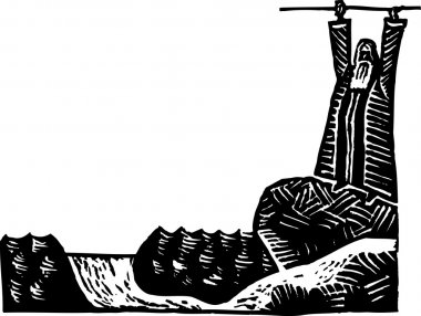 Woodcut Illustration of Moses Parting the Red Sea