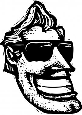 Woodcut Illustration of Hollywood Man Face