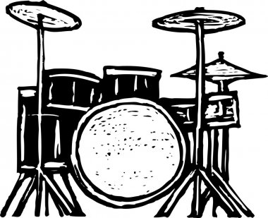 Woodcut Illustration of Drum Set