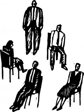 Woodcut Illustration of Office Workers Playing Musical Chairs