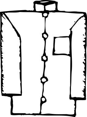 Woodcut Illustration of Nehru Jacket