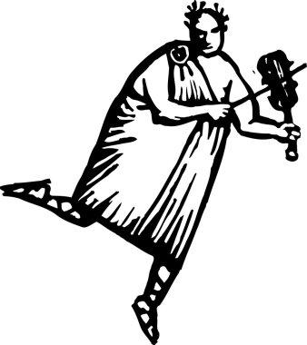 Woodcut Illustration of Nero