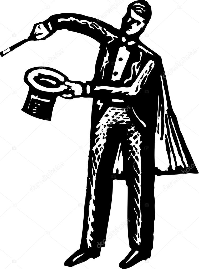 Woodcut Illustration of Magician with Top Hat, Cape and Cane