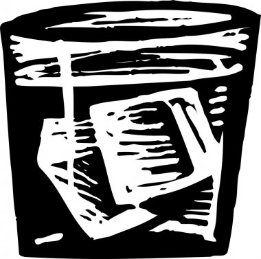 Woodcut Illustration of Cocktail On the Rocks