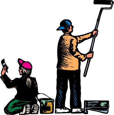 Woodcut Illustration of Man and Woman Painting Wall