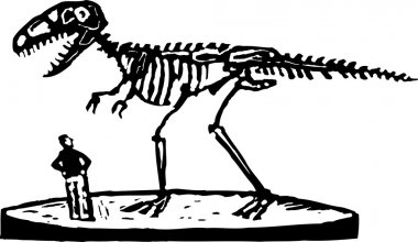 Woodcut Illustration of Paleontologist or Man Looking at Dinosaur Fossil Skeleton