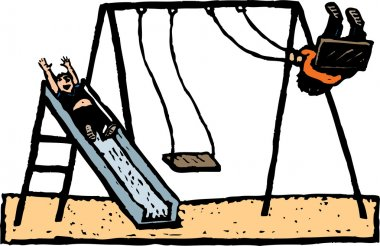 Woodcut Illustration of Kids Playing on Swing and Slide at Park